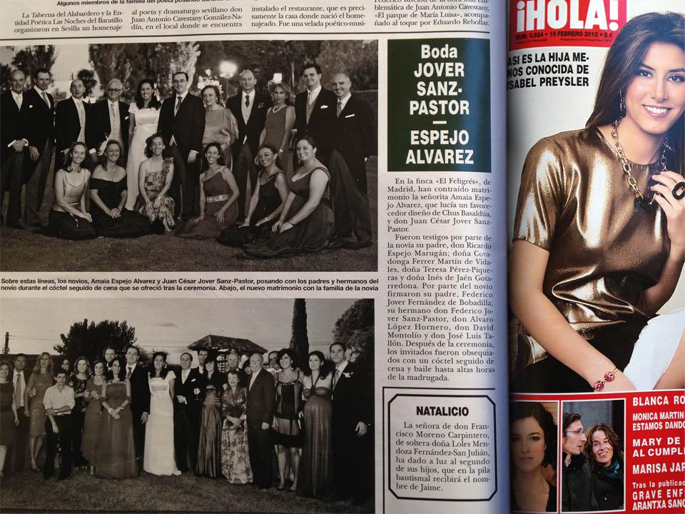 Publicación en la revista HOLA de la boda de Juan Jover y Amaia Espejo por el fotógrafo profesional Vicente Alfonso