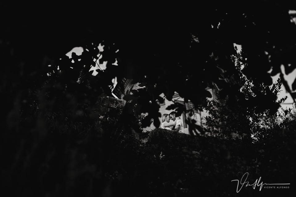 Pareja entre los árboles besándose en Chilla