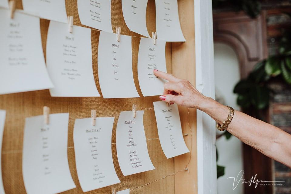 señalando la mesa en la boda
