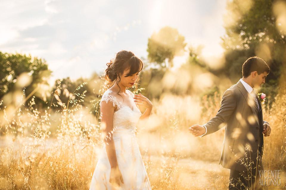Novio dando la mano a la novia