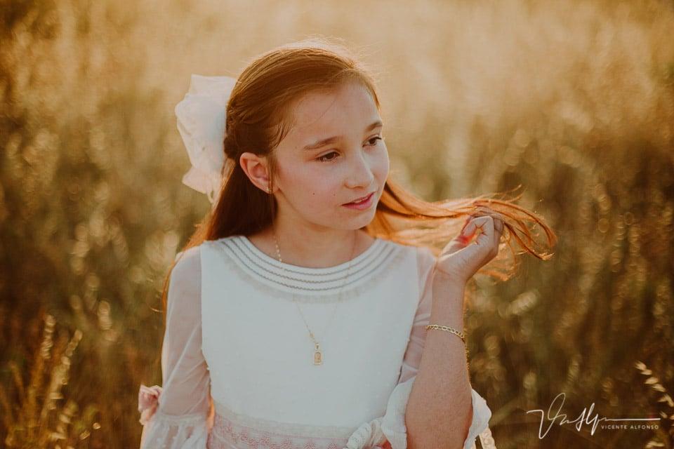 Pelo al viento retrato comunión en Navalmoral