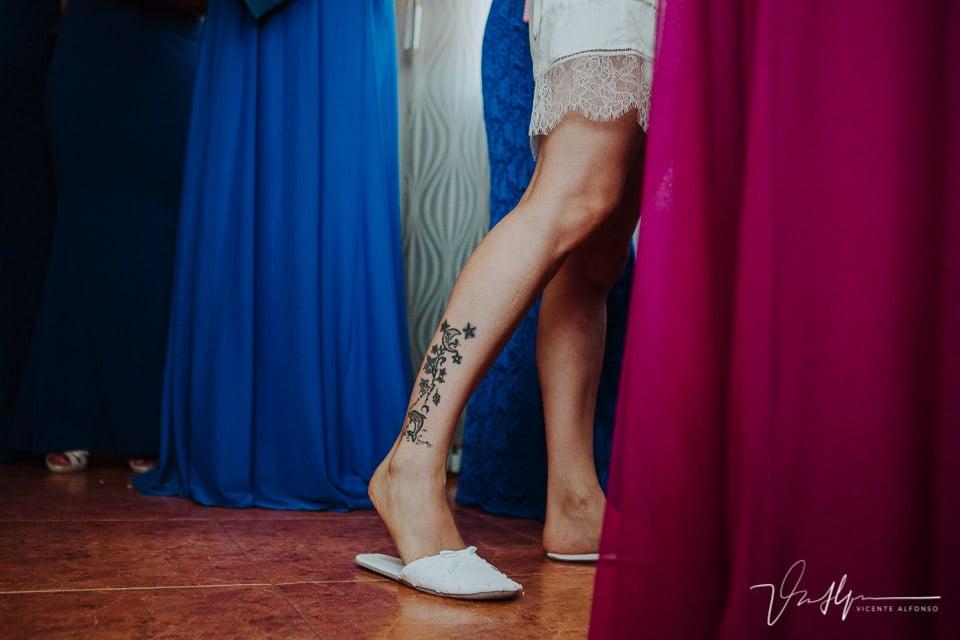 Tatuaje de la novia en la pierna