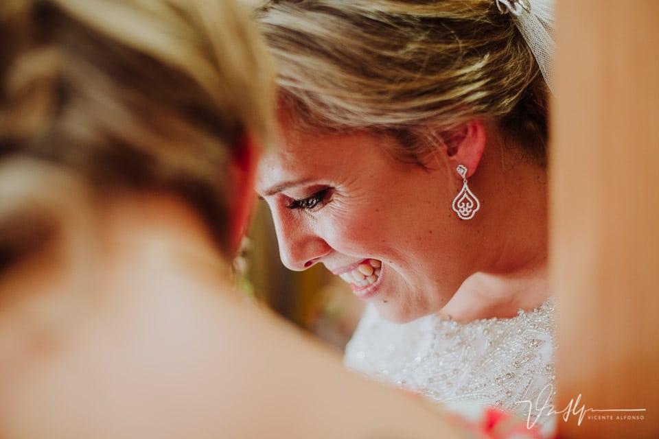 Sonrisa de la guapa novia