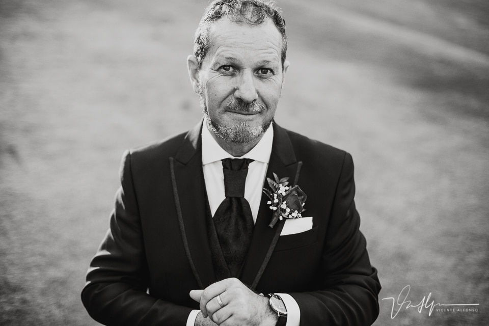 Retrato novio en blanco y negro