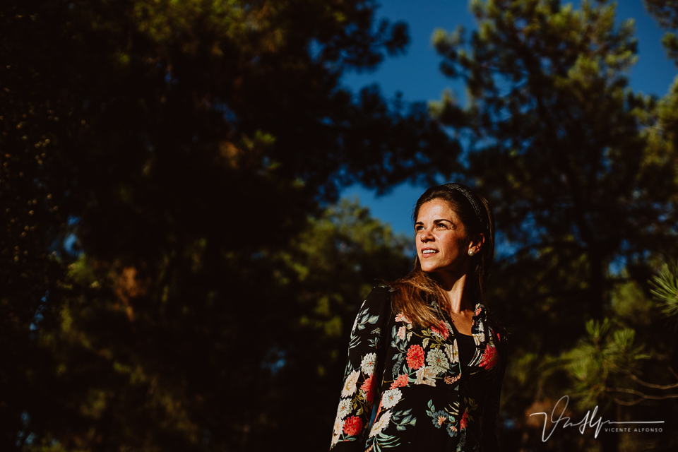 retrato con luz de sol directa