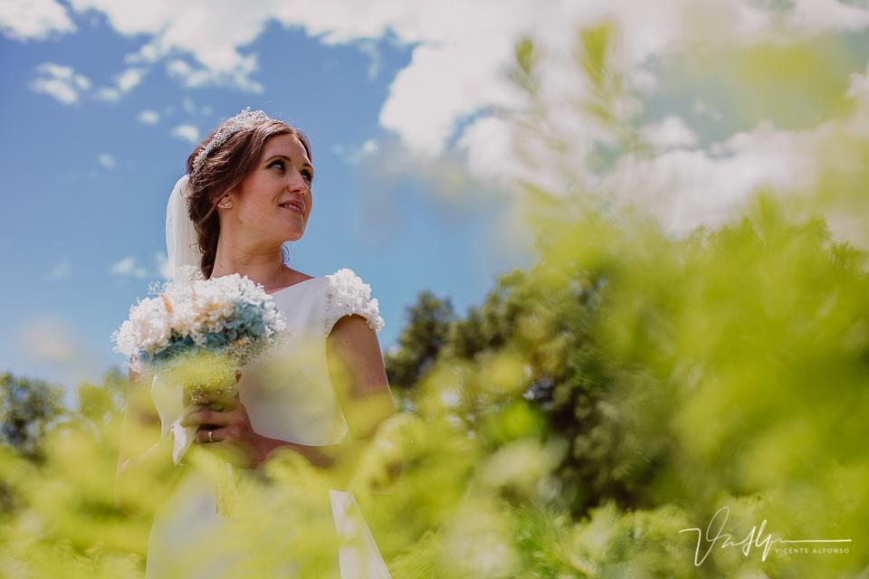 retrato novia con el ramo